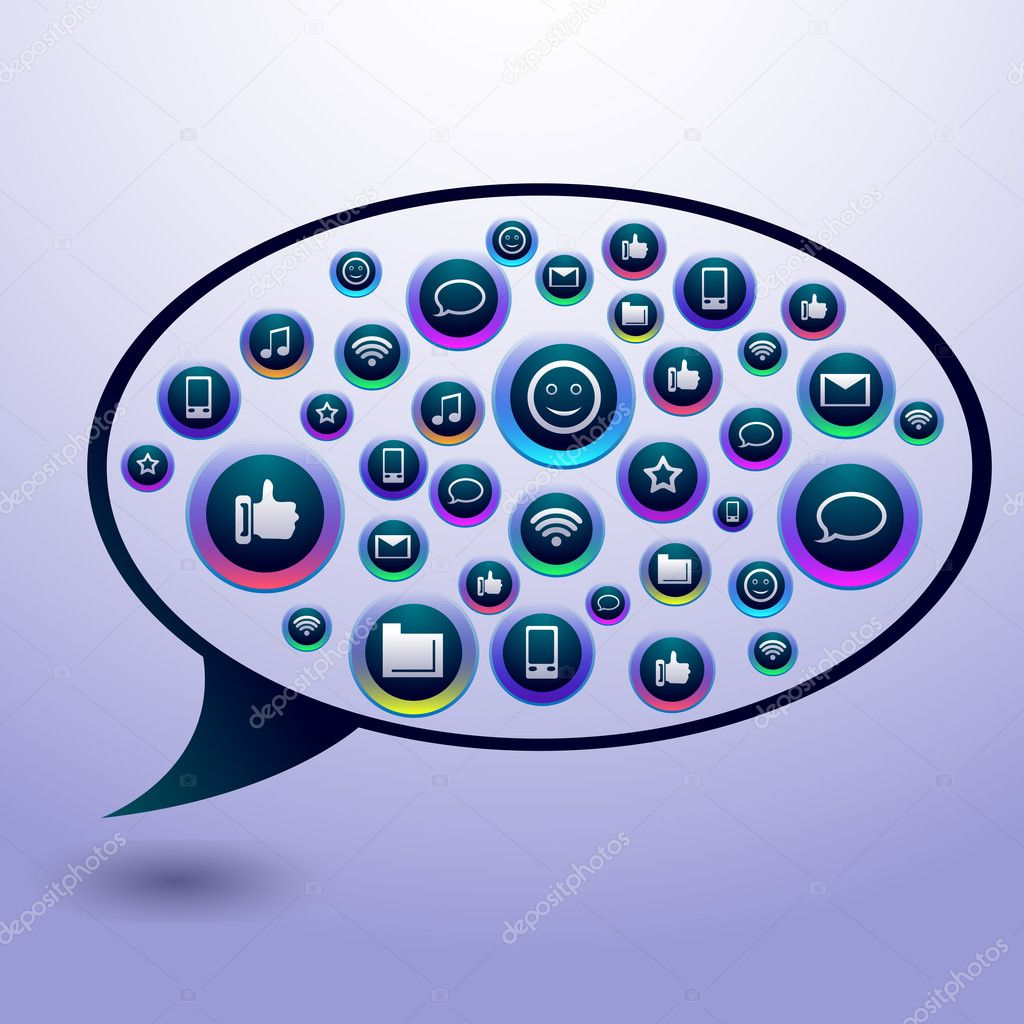 Icons inside bubble speech — Stock Vector #9122266