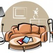 Stock Vector: Interior with sofa