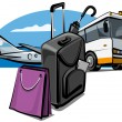 Luggage at the airport — Stock Vector