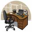 Stock Vector: Office work place