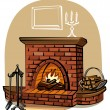 Stock Vector: Fireplace