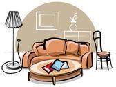 Interior with sofa — Stock Vector