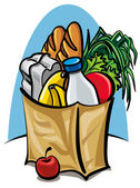 Shopping bag with food — Stock Vector