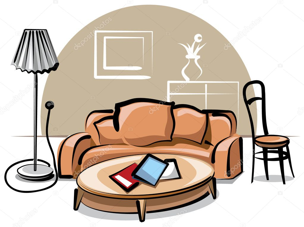Interior with sofa  Stock Vector #7997605