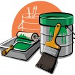 Paint bucket and brush - Stock Vector