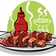 Stock Vector: Grilled meat