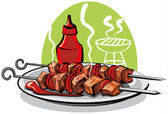 Grilled meat — Stock Vector