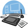 Digital graphic tablet - Stock Vector
