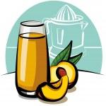 Fresh peach juice — Stock Vector