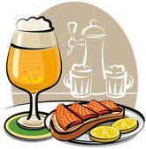 Beer and sandwich with salmon — Stock Vector