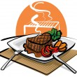 Grilled beef steak — Stock Vector