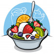 Stock Vector: Fruit salad with yogurt and strawberry