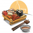 Japan cuisine - sushi set and sauce - Stock Vector