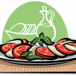 Salad with tomatoes and mozzarella — Stock Vector