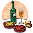 Spanish appetizers and wine - Imagen vectorial