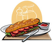Sandwich (french baguette with tomatoes and meat) — Stock Vector