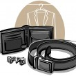 Stock Vector: Belt, wallet and cuff links
