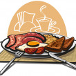 English breakfast with bacon and eggs — Image vectorielle