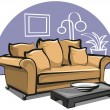 Couch with pillows — Stockvectorbeeld