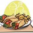 Stock Vector: Fajitas and nachos chips