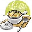 Stock Vector: French onion soup with croutons and cheese