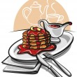 Pancakes with syrup - Stock Vector