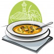Pumpkin soup with croutons — Stock Vector