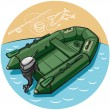 Stock Vector: Inflatable rubber boat