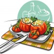 Stuffed tomatoes — Stock Vector #8761588