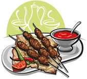 Kebab with tomato sauce — Stock Vector