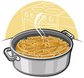 Pasta in the pot — Stock Vector