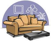Sofá con almohadones — Vector de stock