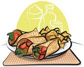Fajitas and nachos chips — Stock Vector