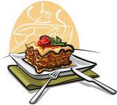 Fresh baked lasagna — Stock Vector