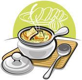French onion soup with croutons and cheese — Stock Vector