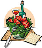 Fresh vegetable salad and wine — Stock Vector