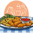 Stock Vector: Breaded chicken nuggets and french fries with sauce