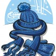 Winter clothing, wool scarf, mittens and hat — Stock Vector