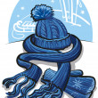 Stock Vector: Winter clothing, wool scarf, mittens and hat