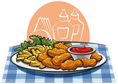 Breaded chicken nuggets and french fries with sauce — Stock Vector