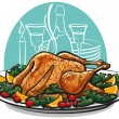 Stock Vector: Garnished roasted turkey