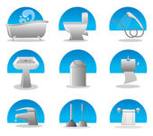 Bathroom and toilet web icon set — Stock Vector