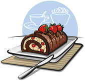 Chocolate roll cake with strawberries — Stock Vector