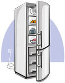 Two door refrigerator — Stock Vector