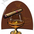 Cognac and cigar — Stock Vector #9209203