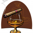 Cognac and cigar — Stock Vector