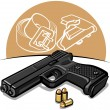 Stock Vector: Automatic handgun