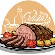 Stock Vector: Roast beef with roasted potatoes