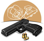 Automatic handgun — Stock Vector