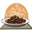 Traditional meat dish Goulash — Stock Vector